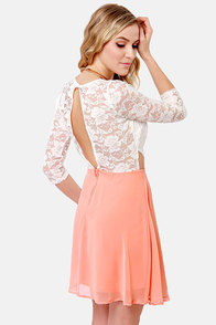 Lovers' Lane Peach and Ivory Lace Dress at Lulus.com!