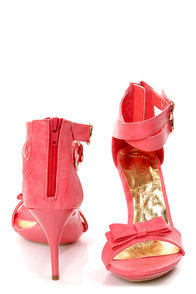Mona Mia Barbara Coral Bow-Topped Ankle Strap Heels at Lulus.com!