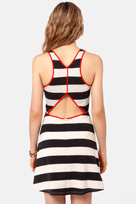 Aryn K Remember Your Lines Black and Grey Striped Dress at Lulus.com!