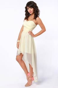 Ruched Reverie Cream Strapless Dress at Lulus.com!