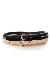 Fit Kit Beige and Black Leather Belt Set at Lulus.com!