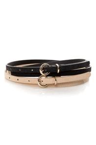 Fit Kit Beige and Black Leather Belt Set