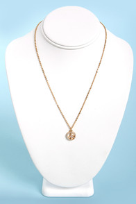 Pearls of Peace Gold Peace Sign Necklace at Lulus.com!
