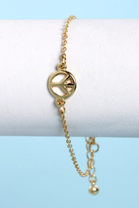 Give It a Chance Gold Peace Bracelet at Lulus.com!