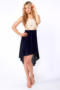 Breeze On By Navy Blue and Cream High-Low Dress