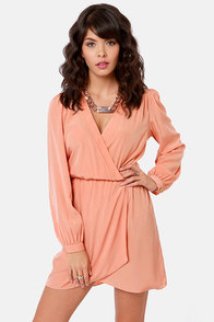 That's a Wrap Dark Peach Long Sleeve Dress at Lulus.com!