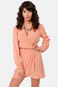 That's a Wrap Dark Peach Long Sleeve Dress