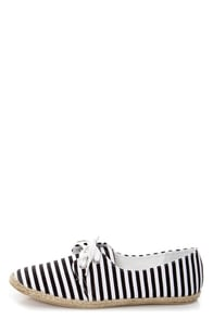 C Label Pecky 5A Black and White Striped Canvas Lace-Up Flats
