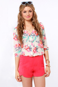 Tulip and Slide Coral Red Shorts at Lulus.com!