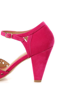 Restricted Denver Fuchsia Perforated Peep Toe Heels at Lulus.com!