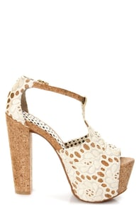 Jessica Simpson Dany 4 Cream Macrame Fabric Lace Platform Heels at Lulus.com!