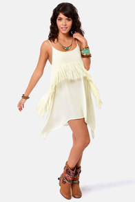 RVCA Black Metal Ivory Fringe Dress at Lulus.com!