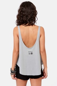RVCA Sleepy Cat Print Grey Tank Top at Lulus.com!