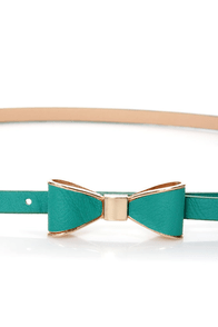 Ready, Set, Bow! Teal Bow Skinny Belt at Lulus.com!