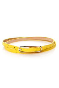 Oval Office Bright Yellow Skinny Belt at Lulus.com!