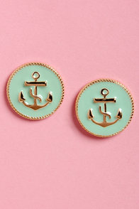 Anchorwoman Mint Green Anchor Earrings at Lulus.com!