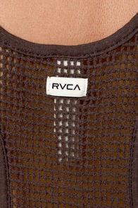 RVCA White Shadow Grey Tank Top at Lulus.com!