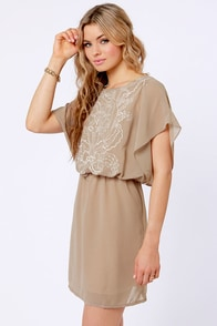 Bait and Stitch Taupe Embroidered Dress at Lulus.com!