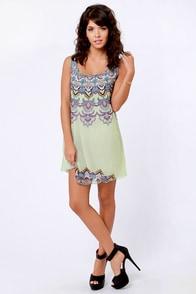 Tiers in Heaven Mint Print Sequin Dress at Lulus.com!
