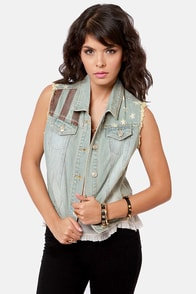Free Bird Flag Print Denim Vest