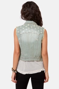 Free Bird Flag Print Denim Vest at Lulus.com!