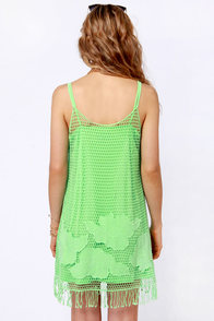 Pop, Lock, and Tropic Crocheted Green Dress at Lulus.com!