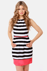 Tea Time Black and White Striped Dress at Lulus.com!