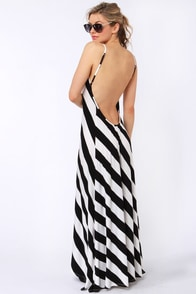 City Skylines Black and Ivory Striped Maxi Dress at Lulus.com!