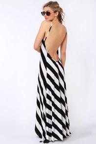 City Skylines Black and Ivory Striped Maxi Dress