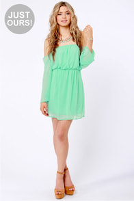 LULUS Exclusive Maiden Heaven Off-the-Shoulder Mint Green Dress at Lulus.com!