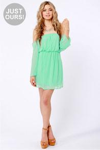 LULUS Exclusive Maiden Heaven Off-the-Shoulder Mint Green Dress