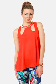 Top of the Charts Beaded Coral Red Top