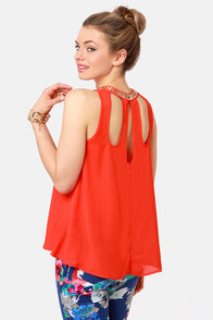 Top of the Charts Beaded Coral Red Top at Lulus.com!