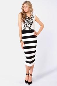 Vertigo With the Flow Black and Ivory Striped Skirt