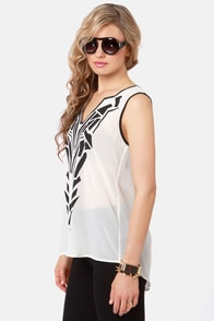 Tron-athon Black and Ivory Print Top at Lulus.com!