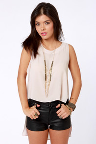 Happy Trails Light Taupe Top at Lulus.com!