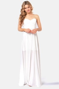 Evening Star Strapless White Maxi Dress at Lulus.com!