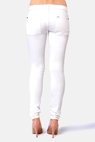 RVCA Badlands Distressed White Skinny Jeans at Lulus.com!