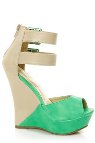 Monaco 3 Sea Green and Beige Belted Color Block Wedges at Lulus.com!