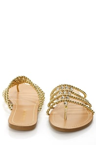 Cesare 16 Gold Beaded Rhinestone Thong Sandals at Lulus.com!