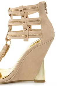 Amey 8 Beige and Gold Ankle Cuff Wedge Sandals at Lulus.com!