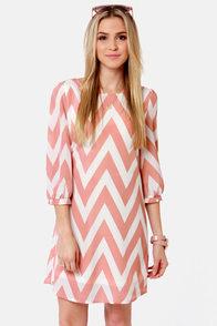 Pack Your Zigzags Blush Pink Chevron Print Dress