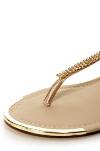 Twiggy 12 Champagne Rhinestone Studded Thong Sandals at Lulus.com!