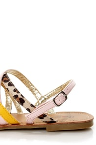 Promise Pam Mango Color Block Strappy Flat Sandals at Lulus.com!
