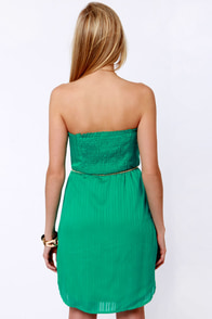 Volcom Sail to the Stone Strapless Teal Dress at Lulus.com!