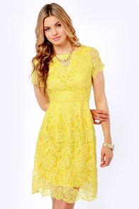 Genteel Breeze Backless Yellow Lace Dress