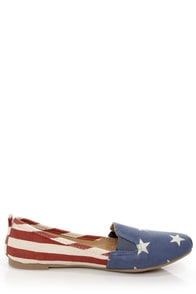 Bamboo Rosalba 01 Red Canvas Stars and Stripes Deck Shoe Flats at Lulus.com!