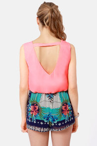 Cuts and Bolts Neon Coral Top at Lulus.com!