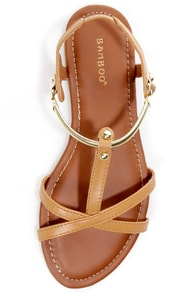 Bamboo Steno 50 Chestnut Gold Chain Flat Sandals at Lulus.com!