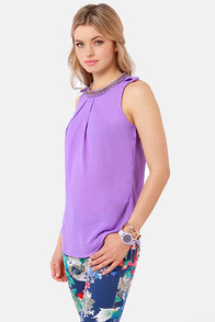 Midnight Chain Lavender Top at Lulus.com!